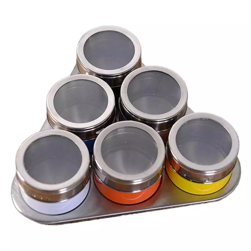 6 Piece Magnetic Spice Jars - Color