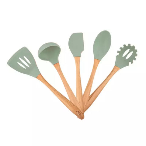 5 Piece Wood Handle Silicone Utensil Set - Gray
