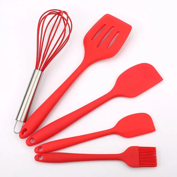 5 Piece Basic Utensil Set - Red
