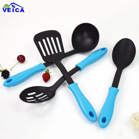 4 Piece Nylon Kitchen Utensils - Blue - Slotted Spoon, Slotted Spatula, Solid Spoon, Ladle Set