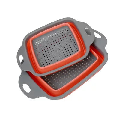 2 Piece Square Collapsible Strainer Set - Red