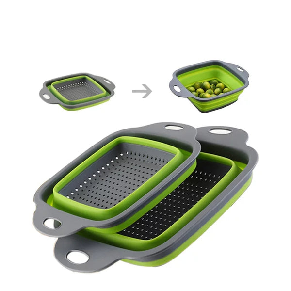 2 Piece Square Collapsible Strainer Set - Green