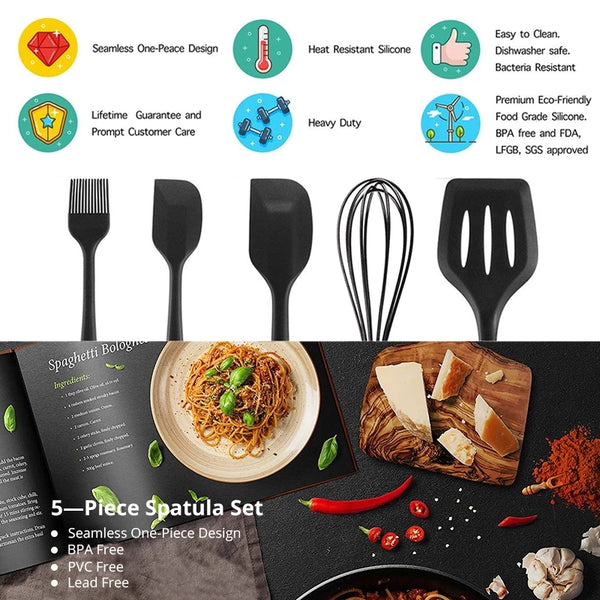 5 Piece Basic Utensil Set - Black in Kitchen Utensil