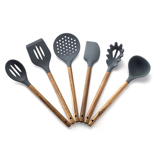 6 Piece Wood Handle Silicone Utensil Set - Dark Gray