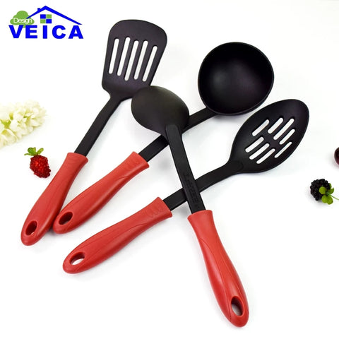 4 Piece Nylon Kitchen Utensils - Red - Slotted Spoon, Slotted Spatula, Solid Spoon, Ladle Set