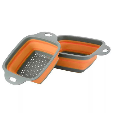2 Piece Square Collapsible Strainer Set - Orange