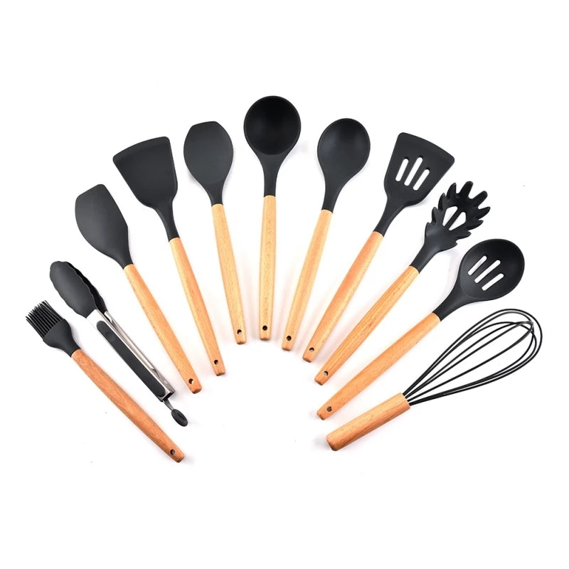 11 Piece Complete Utensil Set - Black - Great for Every Cook and Baker