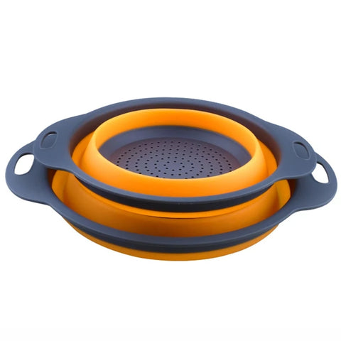 2 Piece Set Collapsible Strainer - Orange in