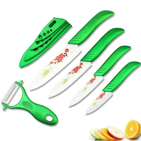 6 Piece Ceramic Knife Set, Peeler, and covers- Green Handles and Plum Flower