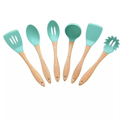 6 Piece Wood Handle Silicone Utensil Set - Blue