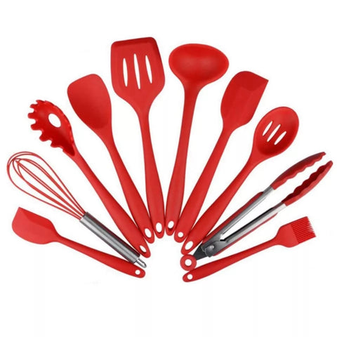 10 Piece Silicone Kitchen Tool Set - Red