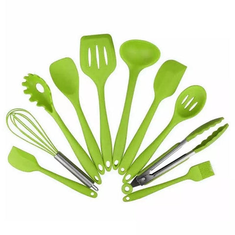 10 Piece Silicone Kitchen Tool Set - Green in Kitchen Utensil