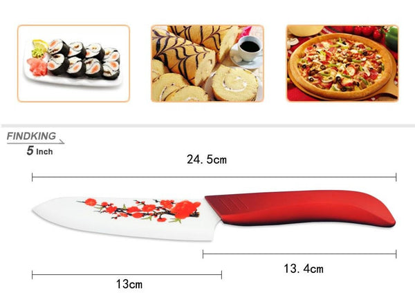 4 piece Ceramic Kitchen Knife Set - Red Flower in Knives and Peelers