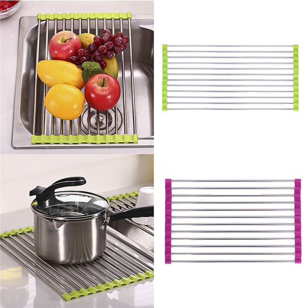 Multi Function Stainless Steel Rack - Sink Strainer, Pot Holder, Cooling Rack in Mats & Pads