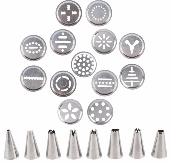 Cookie Press and Icing Kit  with 13 Press Molds & 8 Pastry Piping Nozzles in Baking Tools