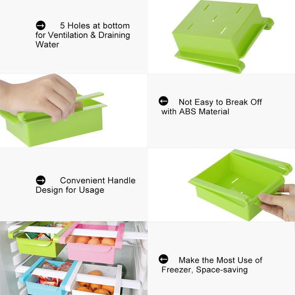 Slide Storage Boxes - 4 Pack - Add Space to Fridge, Freezer or Pantry