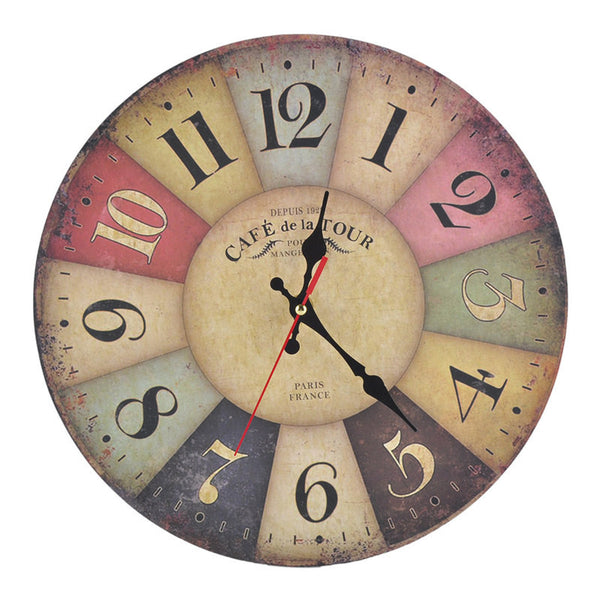 Wall Clock - Multi Colored with Antique Style in Kitchen Decor