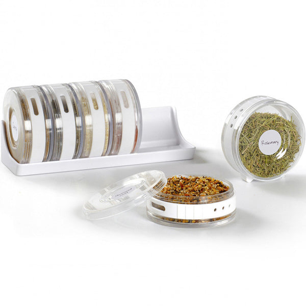 Transparent Seasoning Pinch Jars with Rack in Spice Rack