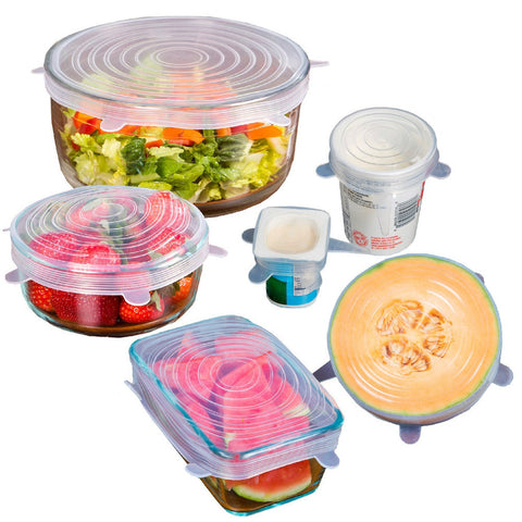 6 Piece Reusable Silicone Stretch Lids - All Bowls No Lids? Get These to Fit Your Lidless Bowls in Food Storage