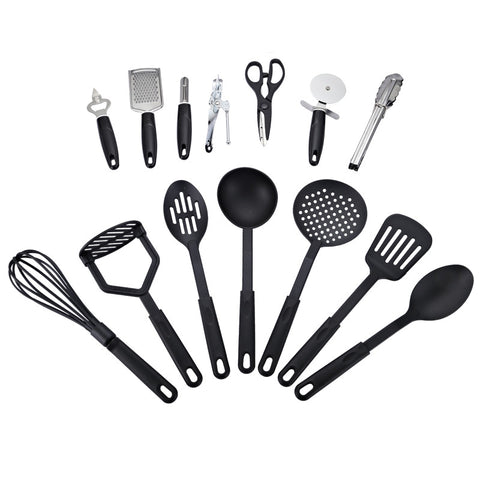 14 Piece Deluxe Kitchen Tool and Utensil Set - Black in Kitchen Utensil
