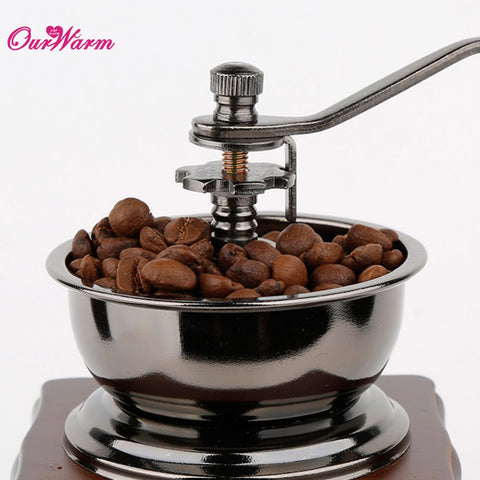 Retro Coffee Grinder with Wooden Base in Coffee Grinders