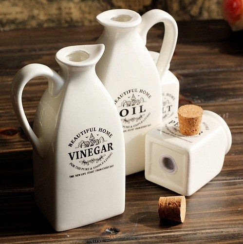 Ceramic Oil and Vinegar Jars with Matching Ceramic Salt and Pepper Shakers in Food Storage