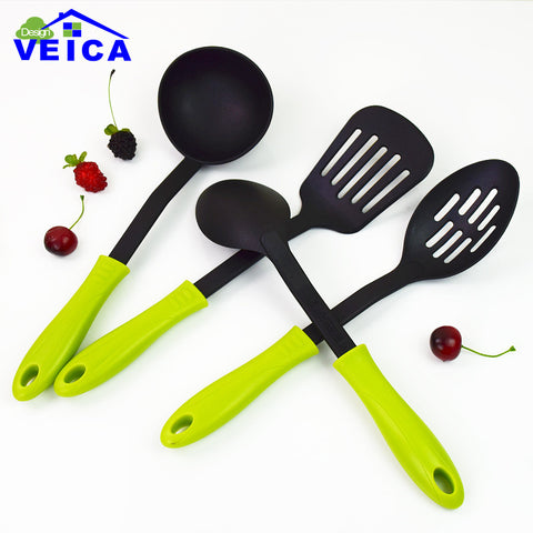 4 Piece Nylon Kitchen Utensils - Slotted Spoon, Slotted Spatula, Solid Spoon, Ladle Set in Kitchen Utensil