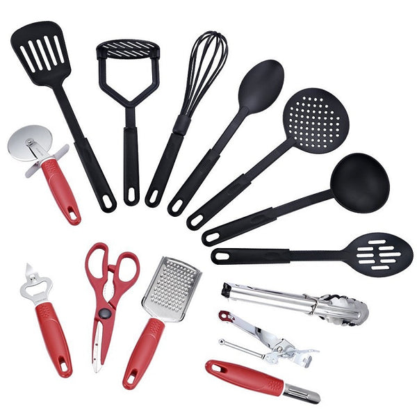 14 Piece Deluxe Kitchen Tool and Utensil Set - Red in Kitchen Utensil