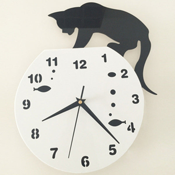 Wall Clock - Cat Passing the Time - 4 Styles Available in Kitchen Decor
