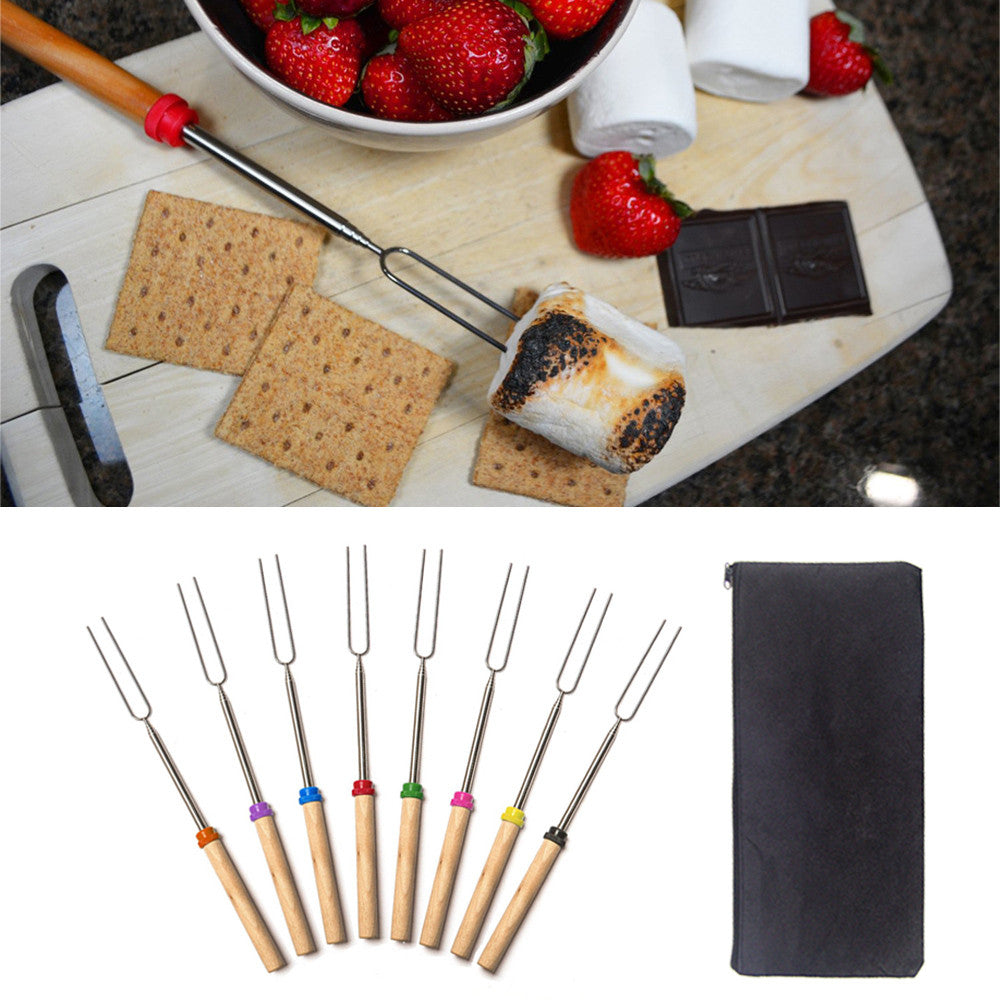 8 Piece Roasting  Set with Retractable Extending Forks in BBQ