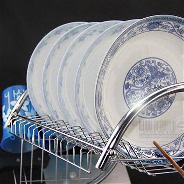 Double Layer Dish Drying Rack in Kitchen Gadgets
