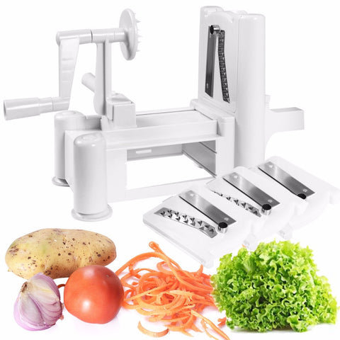 Hand Crank Vegetable Slicer and Spiralizer - No More Twisting Your Vegetables in Slicers
