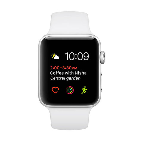 APPLE Watch Series 1 (42mm) Silver Aluminum Case with White Sport Band - Jam Tangan