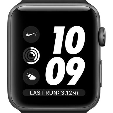 APPLE Watch Series 2 Nike+ 42mm Space Gray Aluminum Case with Black/Cool Gray Nike Sport Band - Jam Tangan