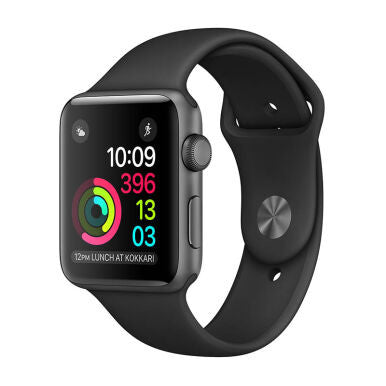 APPLE Watch Series 2 42mm Space Gray Aluminum Case with Black Sport Band - Jam Tangan