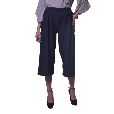 CHIC SIMPLE Textured Cullottes Navy - Pants