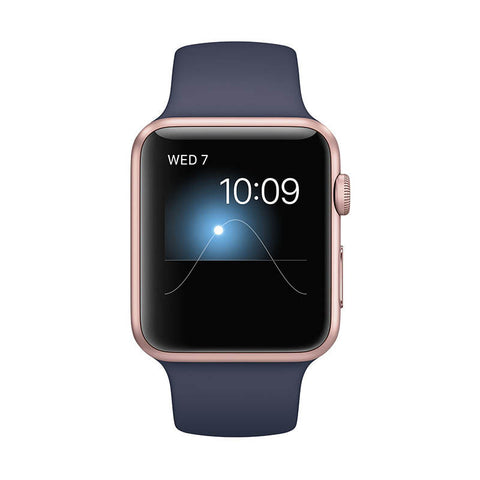 APPLE Watch Series 1 42mm Rose Gold Aluminum Case with Midnight Blue Sport Band - Jam Tangan