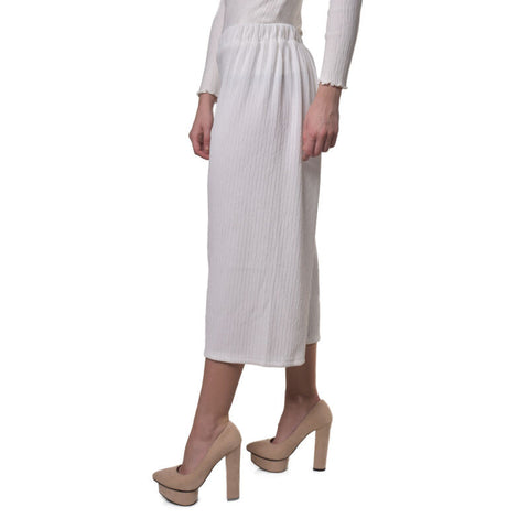 CHIC SIMPLE Textured Cullottes White - Pants