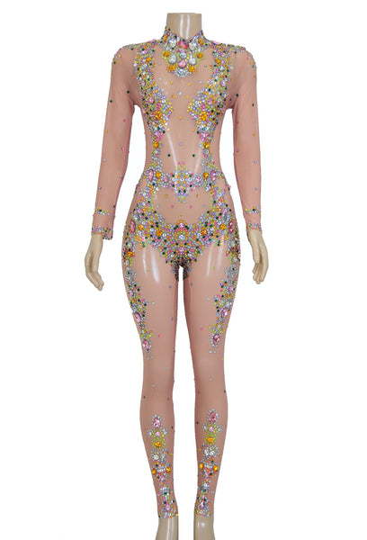 """Tempting"" performance rhinestone bodysuit"