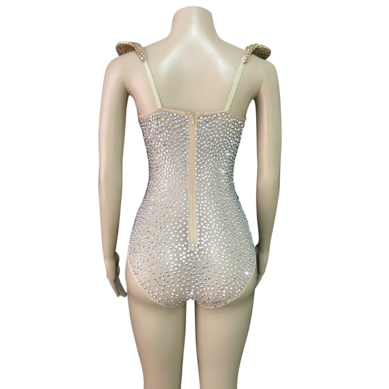 """Splender"" rhinestone dance costume leotard"