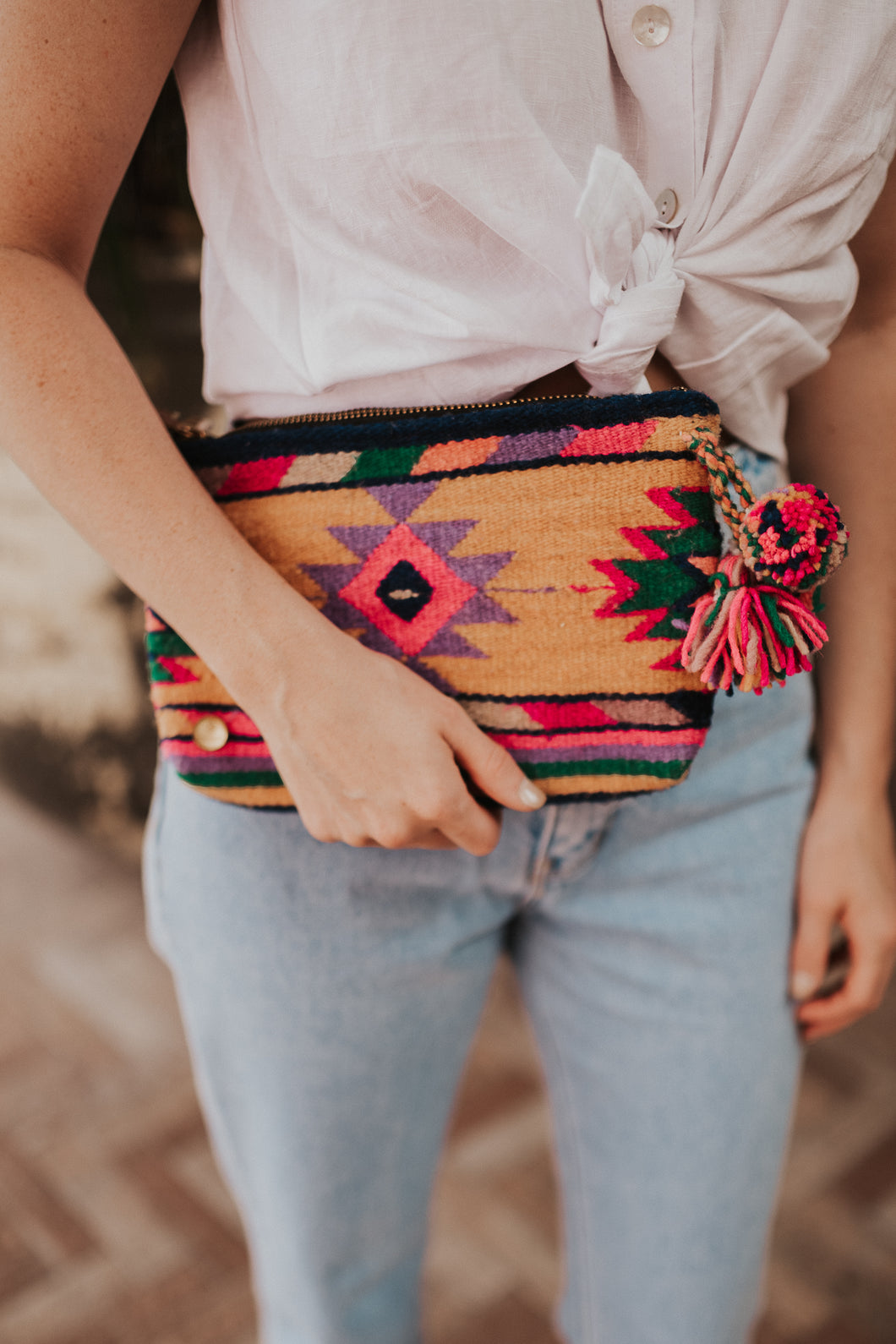 Memah The Label / Daisy Pom-Pom Clutch