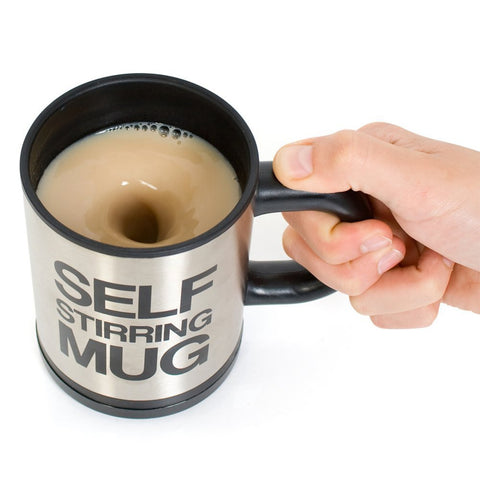 Self Stirring Coffee Mug FOR  PEOPLE WITH A BUSY SCHEDULE Black