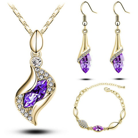 18k Rose Gold Plated Colorful Austrian Crystal Drop Jewelry Sets Women Gift