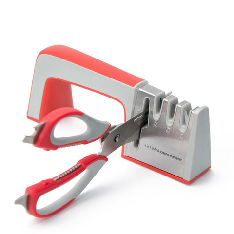 Two Stage Diamond Kitchen Knife Sharpener Red