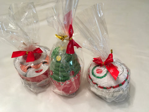 Christmas face cloth cupcakes