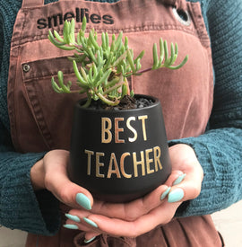 BEST TEACHER POT (BLACK)