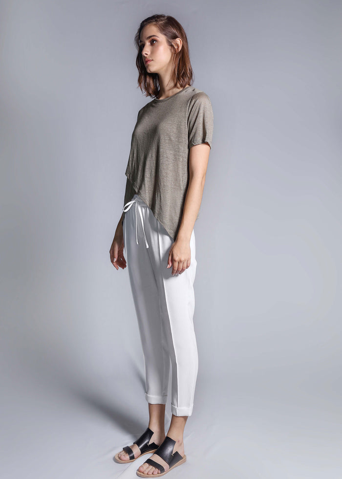 crossover linen tee moss top freeandform
