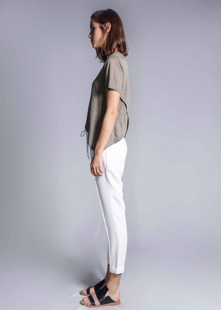 crossover linen tee moss top summer free and form fashion