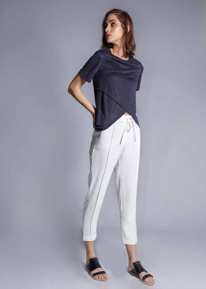 crossover linen tee navy top freeandform