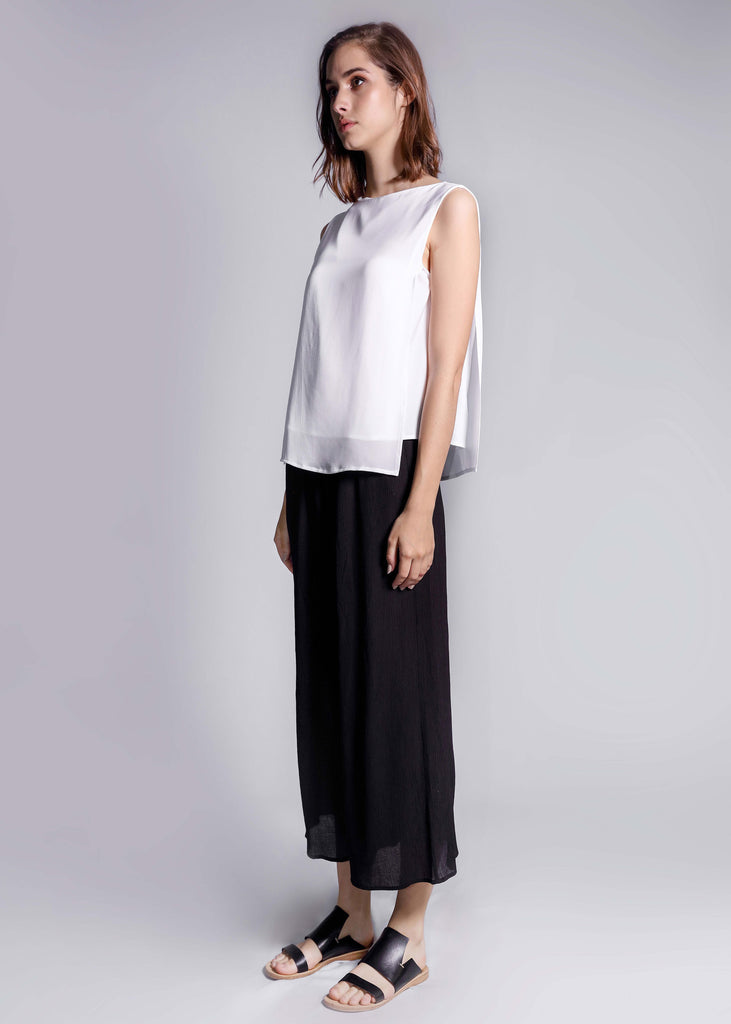 double georgette freeandform silk top white